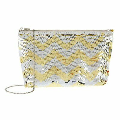 Accessorize Monsoon Gold Silver Sequin Clutch Bag Prom Party Evening Wedding New