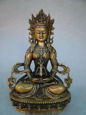 """8.6""""Old Antique Chinese Ancient Collection Brass Bronze Tibet Buddha Statue"""