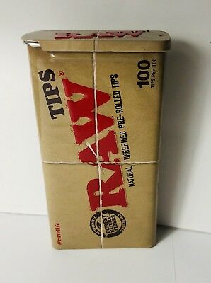 RAWTHENTIC RAW Slide Tin x100 Pre Rolled Tips - Chlorine Free **Free Shipping**