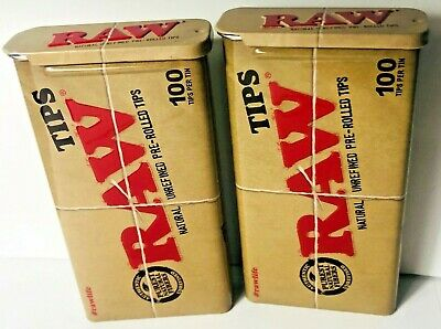 RAWTHENTIC RAW Slide Tin x200 Pre Rolled Tips - Chlorine Free **Free Shipping**