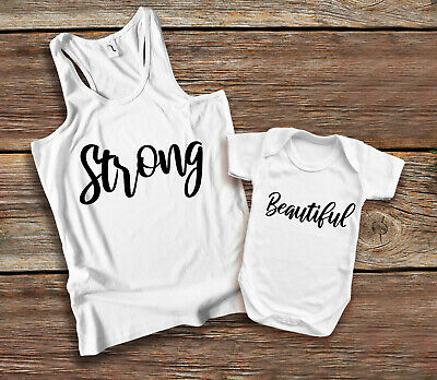 Strong Beautiful Mother and daughter white tank top and baby grow vest set