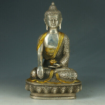 Chinese Tibet hand craft Silver Figure of The Buddha with LotusThrone Statue