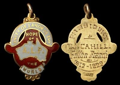 AUSTRALIA 1922 Unity of Labor is the Hope of the World. ALP gold fob medal RARE!