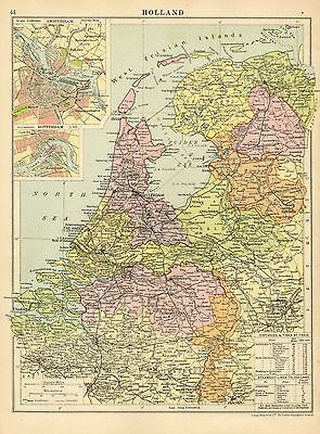 1929 Map ~ Holland ~ Environs Amsterdamn Rotterdam Distances Via Train Steamship