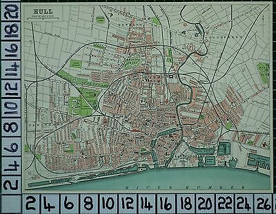 1903 City Plan Hull ~ Streets Buildings Railway Dock Theatre Schools Churches