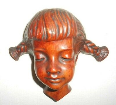 1950's Achatit Modernist Terracotta German Wall Mask Young Girl Mid-Century