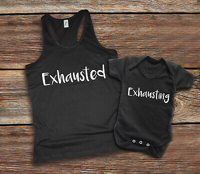 Exhausted Exhausting Mother and baby black tank top and baby grow vest set