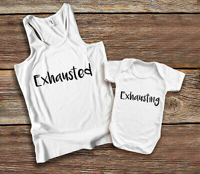 Exhausted Exhausting Mother and baby white tank top and baby grow vest set