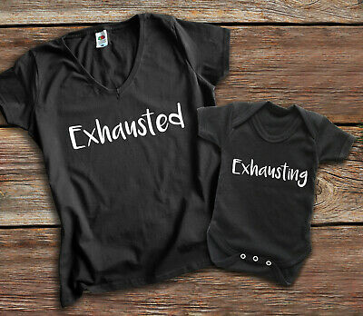 Exhausted Exhausting Mother and baby black t-shirt and baby grow set.