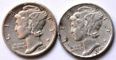Lot 2 USA Mercury Dimes 1935-S 1940-S AU silver $t5