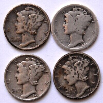 Lot 4 USA Mercury Dimes 1939-D 1920 1944 1940-S silver $t4