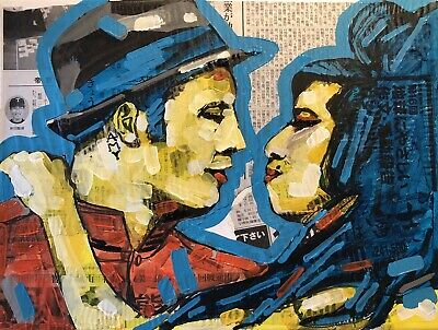 Amy Winehouse Art , Acrilic On Canvas , The Kiss
