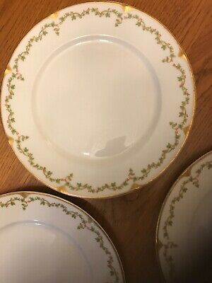 Theodore Haviland Limoges France 3 Plates Floral Gold Ivy Holly Pattern