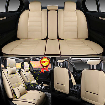 Deluxe PU leather Car Seat Cover Full Front+Rear Cushion 5-Seats W/Pillow Beige