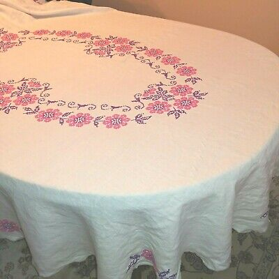 """Vintage Tablecloth Oval Cross Stitched Pink & Purple Floral  66"""" x 84"""""""