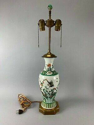 Antique Chinese Famille Verte Porcelain Vase, Qing Dynasty, Mounted as Lamp
