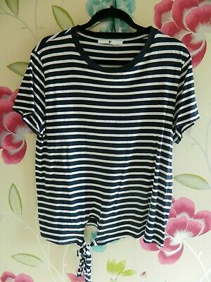 V By Very Size 18 Striped Top With Tie Detail To Front.