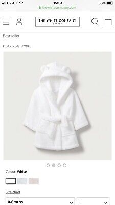The Little White Company Baby White Hydrocotton Dressing Gown Robe 0-6 Months