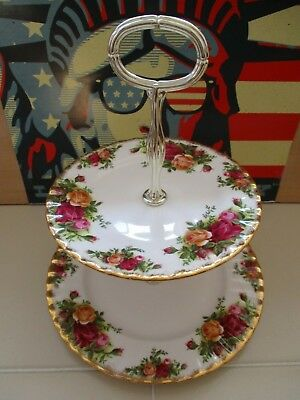 Royal Albert China Old Country Roses England Cake Stand Plate & Fruit Bowl 5.5""
