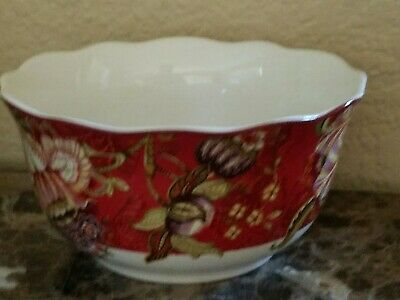 New 222 Fifth Peacock Gabrielle Red Set Of 2 Cereal / Soup Bowls