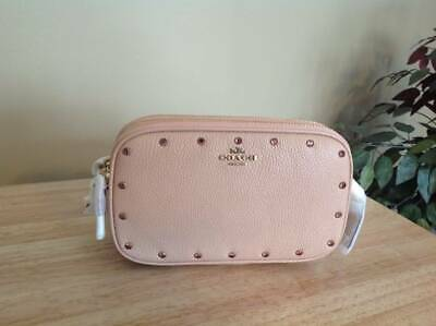 Coach Crystal Rivet Pebbled Leather Crossbody Clutch Brass Nude Pink $225 NWT