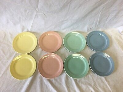 "Vintage Luray Pastels - Set Of 8 Plates - 6 1/4"" Pie / Salad / Or Dessert Plates"
