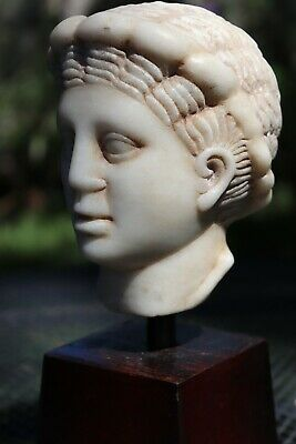 Hellenistic (323 BC-31 AD) ancient carved marble head of Goddess, Aphrodite(?)