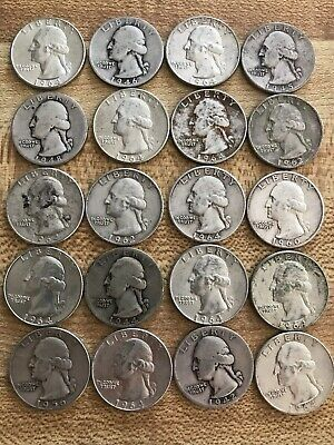 Lot of (20) Circulated Washington 25¢ Quarters, 90% Silver Coins, Mixed Dates