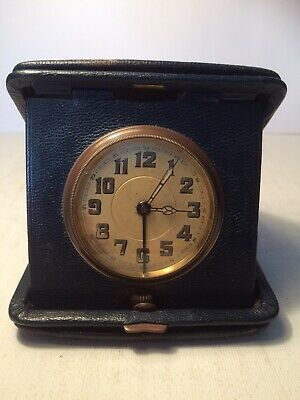 Antique Swiss Made Folding Pocket Watch Alarm in leather Case Working Order