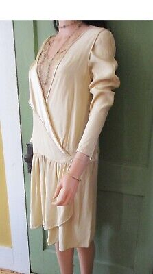 Art Deco Original Authentic 1920's Gown & Shawl Charmeuse Duchess Lace