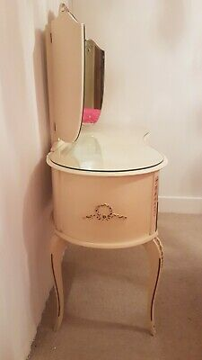 Cream solid wood vintage antique french Louis shabby chic dressing table