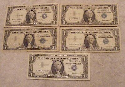 (4)1957 & (1)1935  One Dollar  Star Notes  Well Circulated Silver Certificates