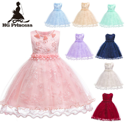 Childrens Girls Beautiful Rainbow Flower Embroidery Princess Dress Ball Gown ZG9