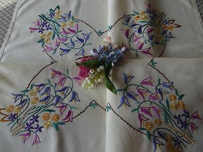 Vintage Hand Embroidered Tablecloth=Beautiful Delicate Floral Bouquets