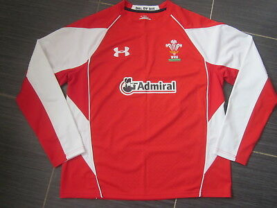 NEW Mens Wales 2010-11 Under Armour Admiral Red Home L/Sleeve Rugby Shirt (XL)