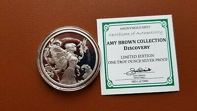 Amy Brown Collection Discovery Fairy 1 Oz Silver Proof Round Capsule & Coa Rare