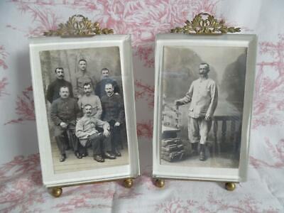 PAIR OF DIVINE ANTIQUE FRENCH PCTURE / PHOTO FRAMES with Bevelled Glass- PARIS