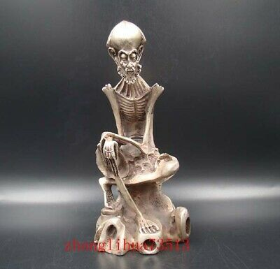 Collectible Handmade Carving Statue Bodhidharma Buddha Copper Silver XuanDe Mark