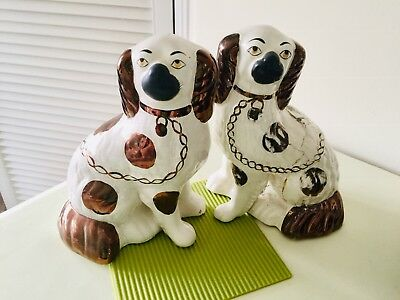 Pair of Staffordshire King Charles Spaniels