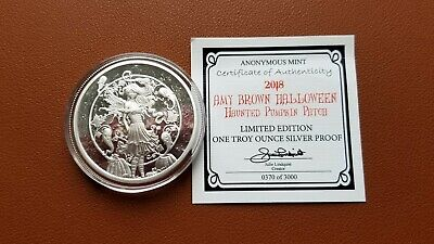 Amy Brown Halloween Haunted Pumpkin Patch 1 Oz Silver Proof Round Capsule & Coa