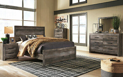 MODERN RUSTIC BROWN Gray Finish Bedroom Furniture - MEDINA ...