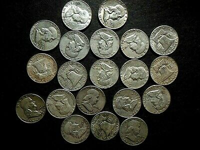 FULL DATES Roll of 20 $10 face value Silver Franklin Halves FREE US SHIPPING