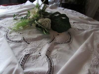 Vintage Cotton Round  Tablecloth Lace Horseshoes Snow White