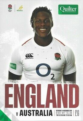ENGLAND v AUSTRALIA 24/11/2018 Rugby Union programme Quilter International