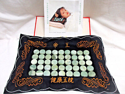 TWO Natural Jade Stone Neck Cervical Protective Pillows Hia & Hers