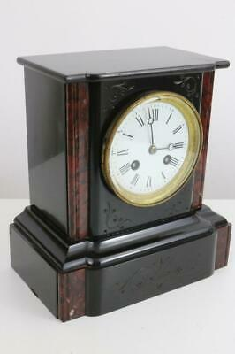 VICTORIAN BLACK SLATE & ROUGE MARBLE FRENCH MANTEL CLOCK by RICHARD et CIE c1870