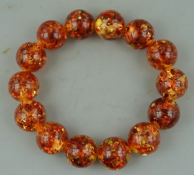 AAA Collect Decor China Handmade Amber & Resin Inlay Leaf Elastic Bracelet Gift