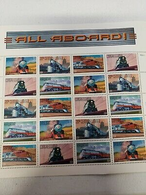 ALL ABOARD TRAIN U.S. POSTAGE STAMPS Full Stamp Sheet Scott 3333-37 MNH 33ct