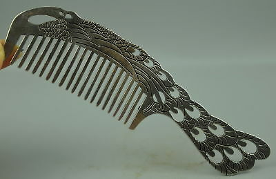 AAA Collect Decor Tibet Silver Carve Abstract China Myth Phoenix Exquisite Comb