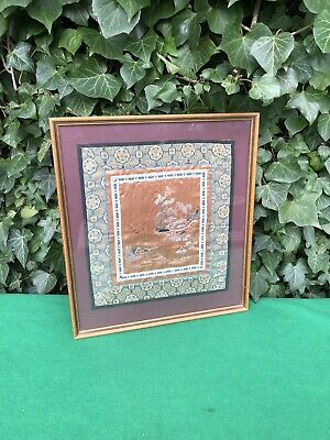Beautiful Vintage Framed Chinese Silk Embroidery Textile Panel